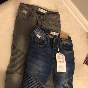 Zara biker denim skinny 3/4yrs (pair)